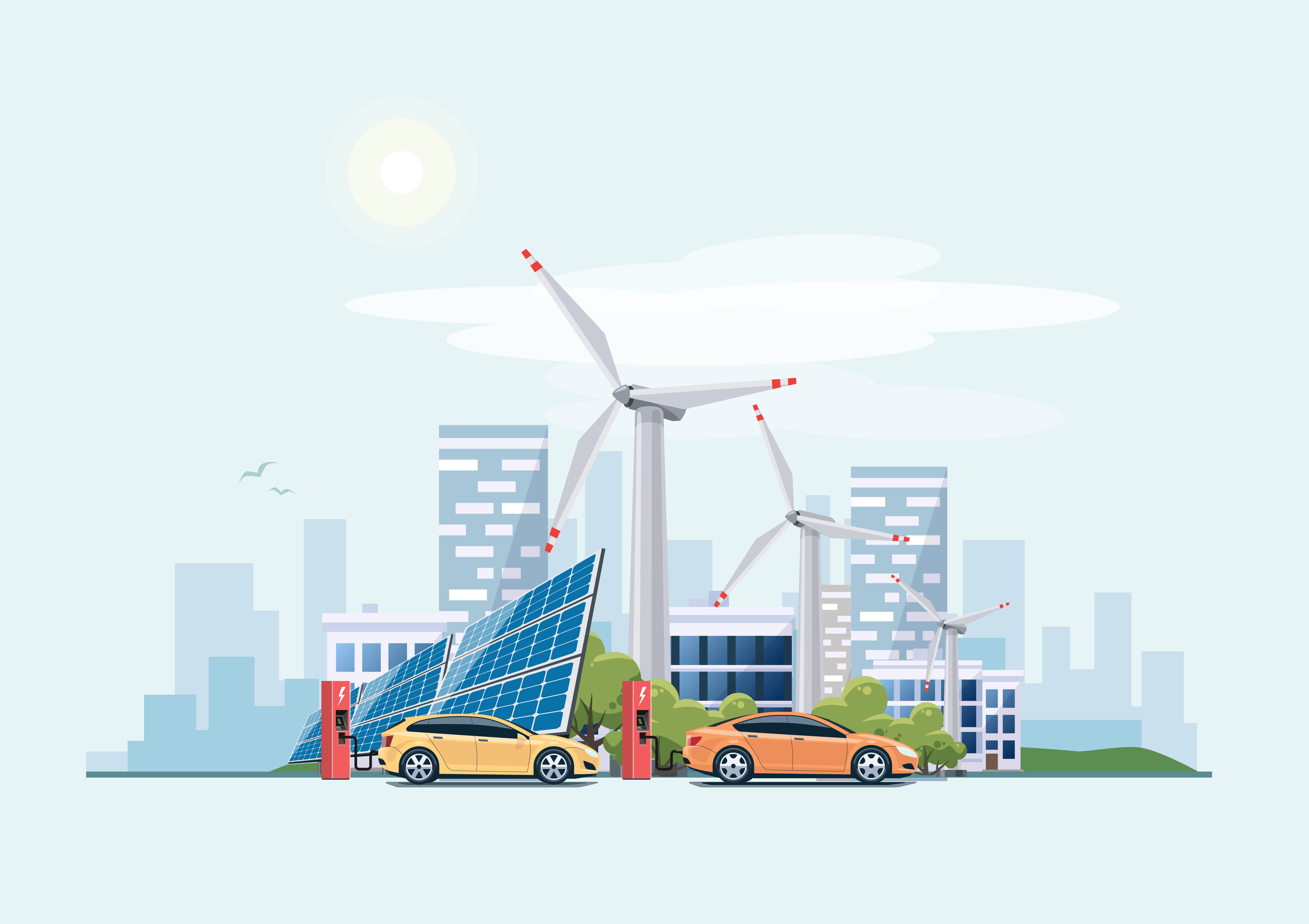 Electric cars charging at the charger station in front of the solar panels and wind turbines. City building skyline in the blue background. Eco green city theme.